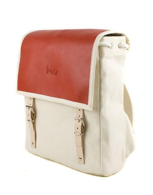 Mö Heap batoh zčervené kůže abéžové textílie