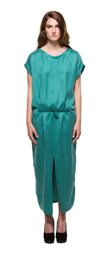 Sca Ulven dámské zelené lesklé dlouhé šaty