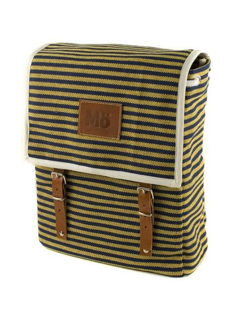 Mö Heap žlutý batoh na záda sčernými pruhy, textilní