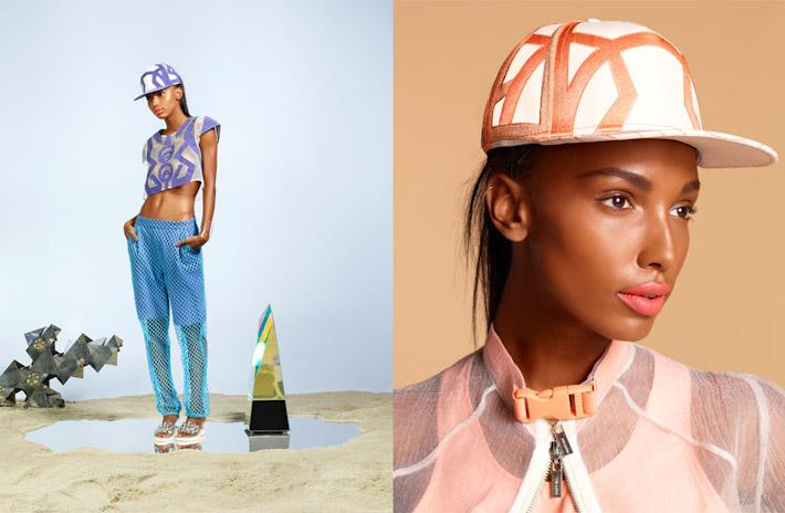 Nasty Gal, In oblečení, dámský průhledný top sfialovým vzorem, kšiltovka, modré prodyšné kalhoty