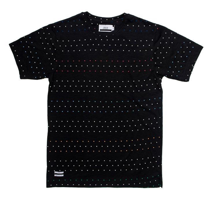 Publish pánské černé tričko sbarevnými puntíky