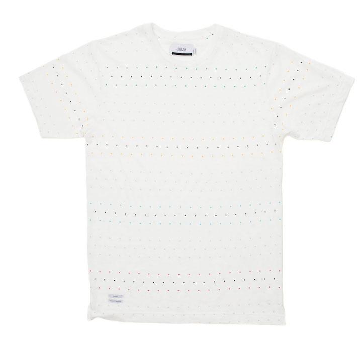 Publish pánské bílé tričko sbarevnými puntíky