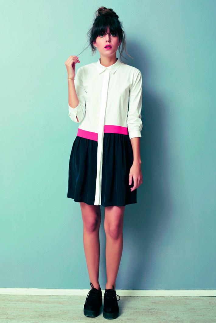 Asli Filinta dámské letní šaty bílo černé srůžovým pruhem