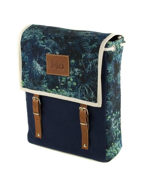 Mö Heap modrý batoh na záda skvětinovým vzorem