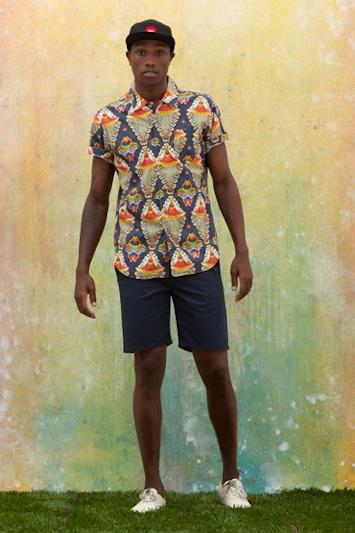 Obey pánská košile se vzorem, jeansové šortky, batikované tričko