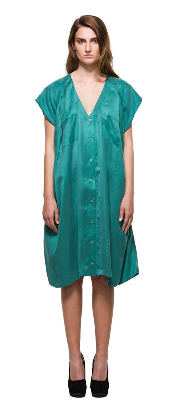 Sca Ulven dámské zelené šaty svýstřihem