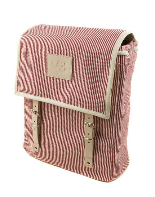 Mö Heap batoh červený na záda pruhovaný, textilní