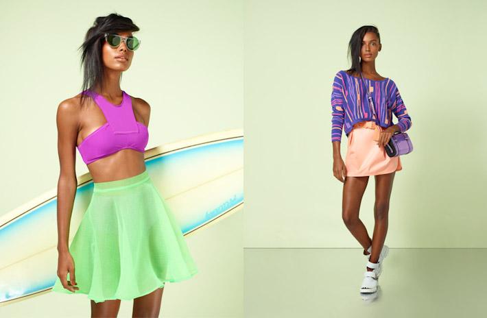 Nasty Gal, In oblečení, růžový top, zelená sukně, meruňková sukně, barevná halenka
