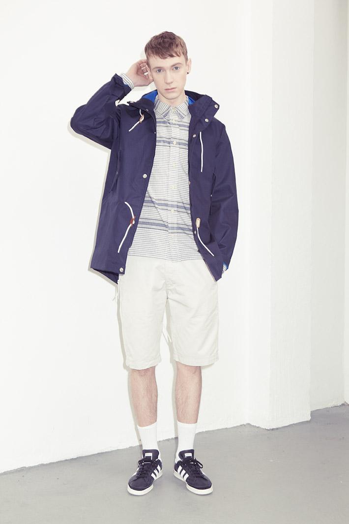 adidas Originals Blue Collection S/S 2013 — pánská modrá parka, bunda jarní, šortky, košile