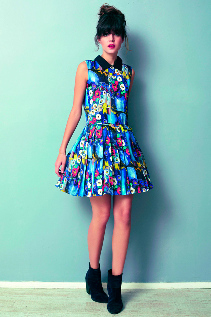 Asli Filinta dámské modré originální šaty skvětinami