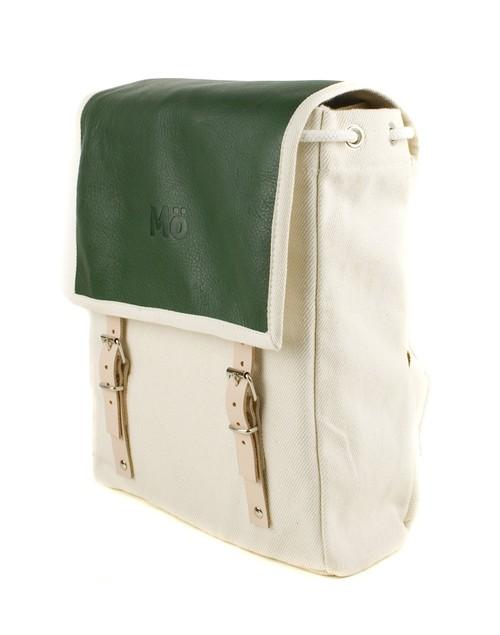 Mö Heap batoh ze zelené kůže akrémové textílie