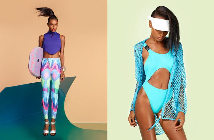 Nasty Gal, In oblečení, fialový top, barevné legíny, tyrkysové plavky
