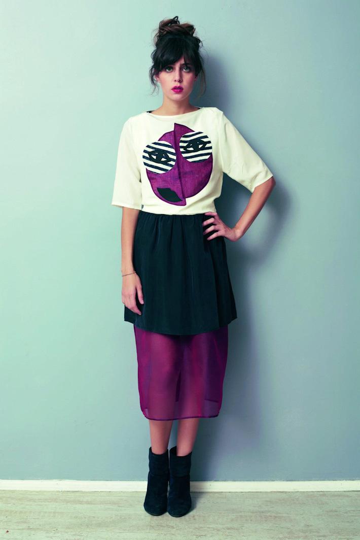 Asli Filinta dámské originální fialovo-černo-bílé šaty