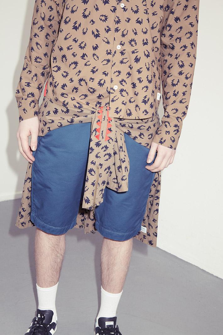 adidas Originals Blue Collection S/S 2013 — hnědá košile pánská, modré šortky