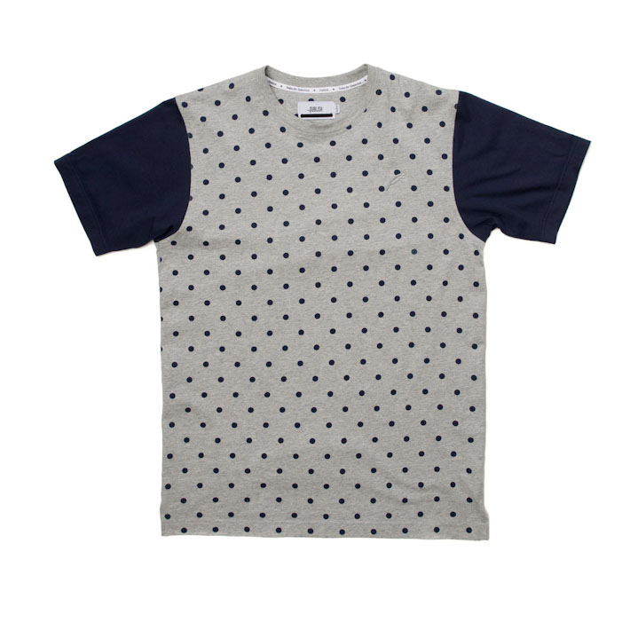 Publish pánské šedé tričko spuntíky, modré rukávy