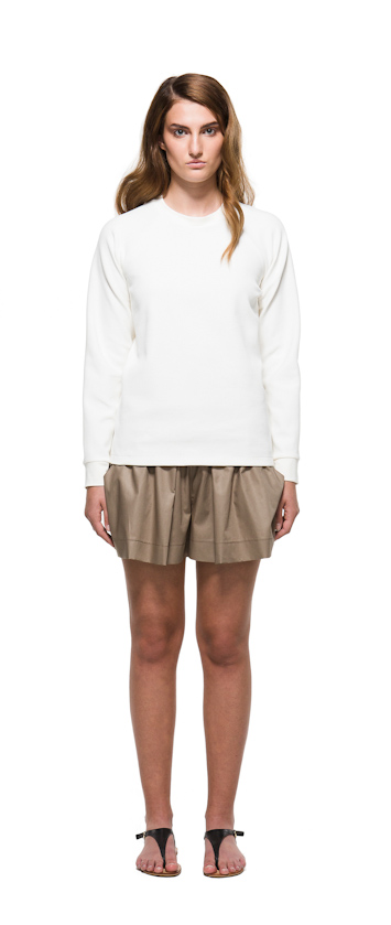 Sca Ulven dámská bílá mikina, bronzové šortky