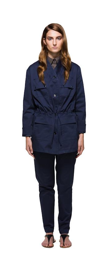 Sca Ulven dámský modrý kabát, plášť, modré kalhoty