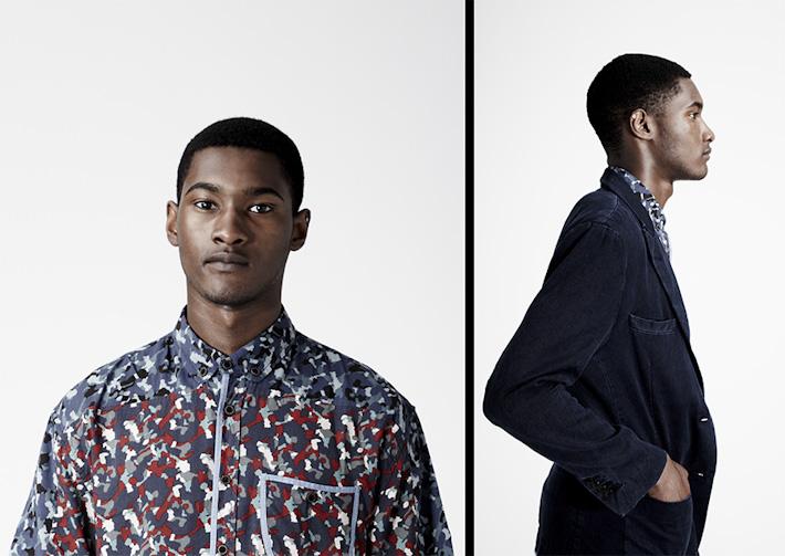 Volklore pánská vzorovaná košile, pánský kabát modrý