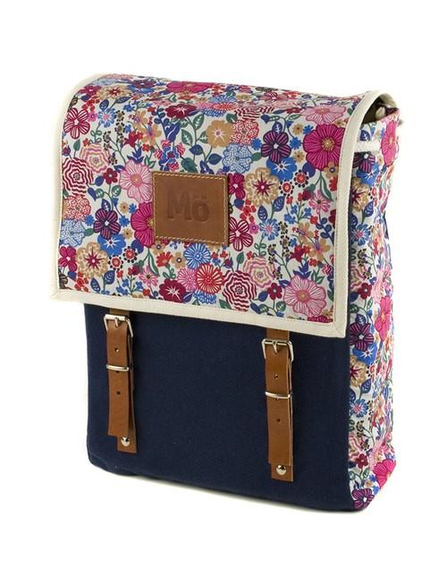 Mö Heap modrý batoh skvětinovým vzorem