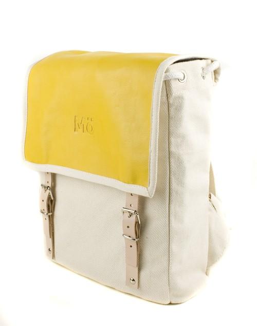 Mö Heap batoh na záda ze žluté kůže abéžové textílie