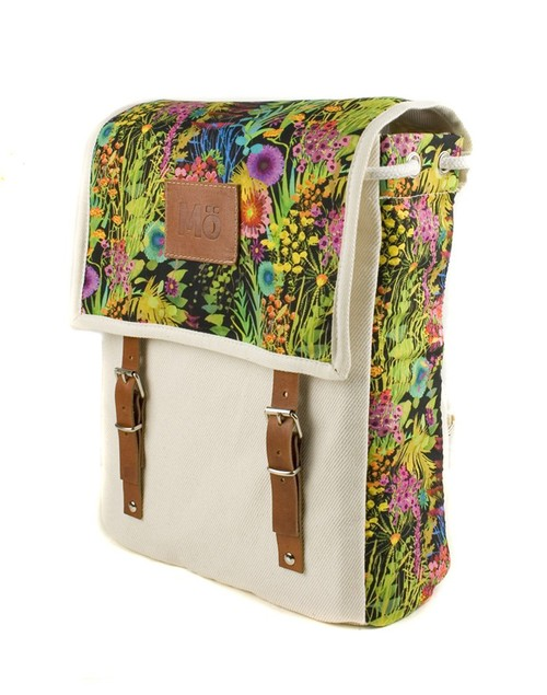 Mö Heap krémový batoh na záda sbarevným květinovým vzorem