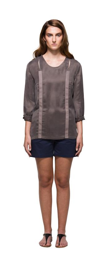 Sca Ulven dámská blůzka bronzové barvy, modré šortky