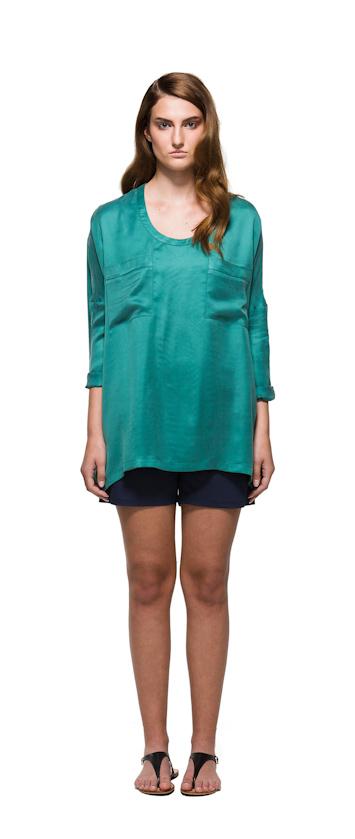 Sca Ulven dámská blůzka zelné barvy, modré šortky