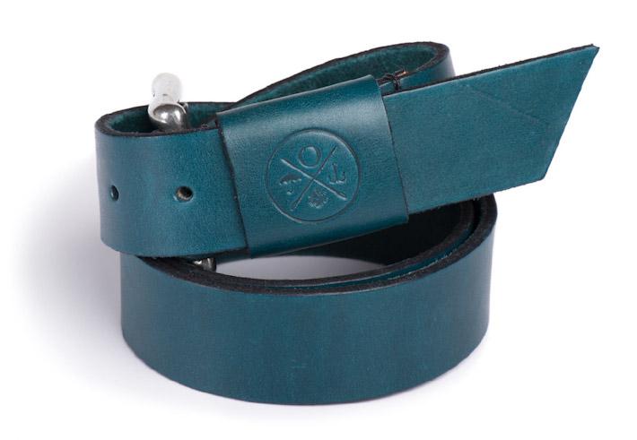 Outclass modrý kožený pásek