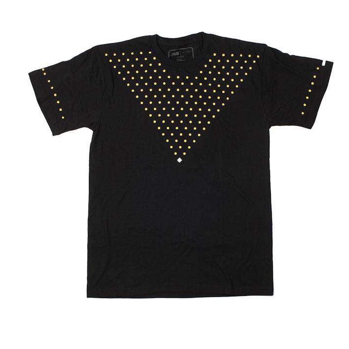 Publish černé pánské tričko se žlutými puntíky