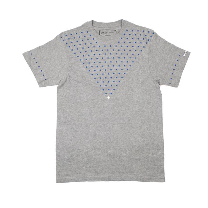 Publish šedé pánské tričko smodrými puntíky