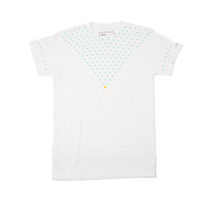 Publish bílé pánské tričko se zelenými puntíky