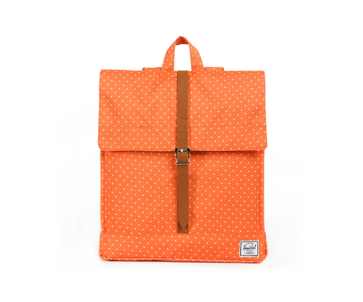 Herschell Supply batoh na záda City oranžový sbílými puntíky