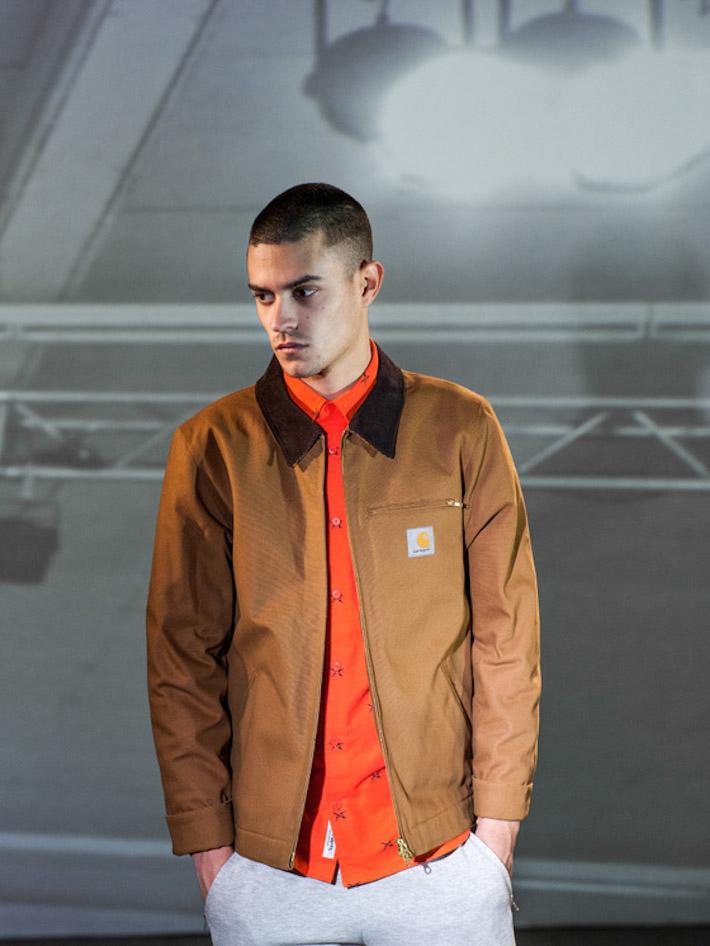 Carhart WIP pánská béžová bunda podzimní, oranžová košile
