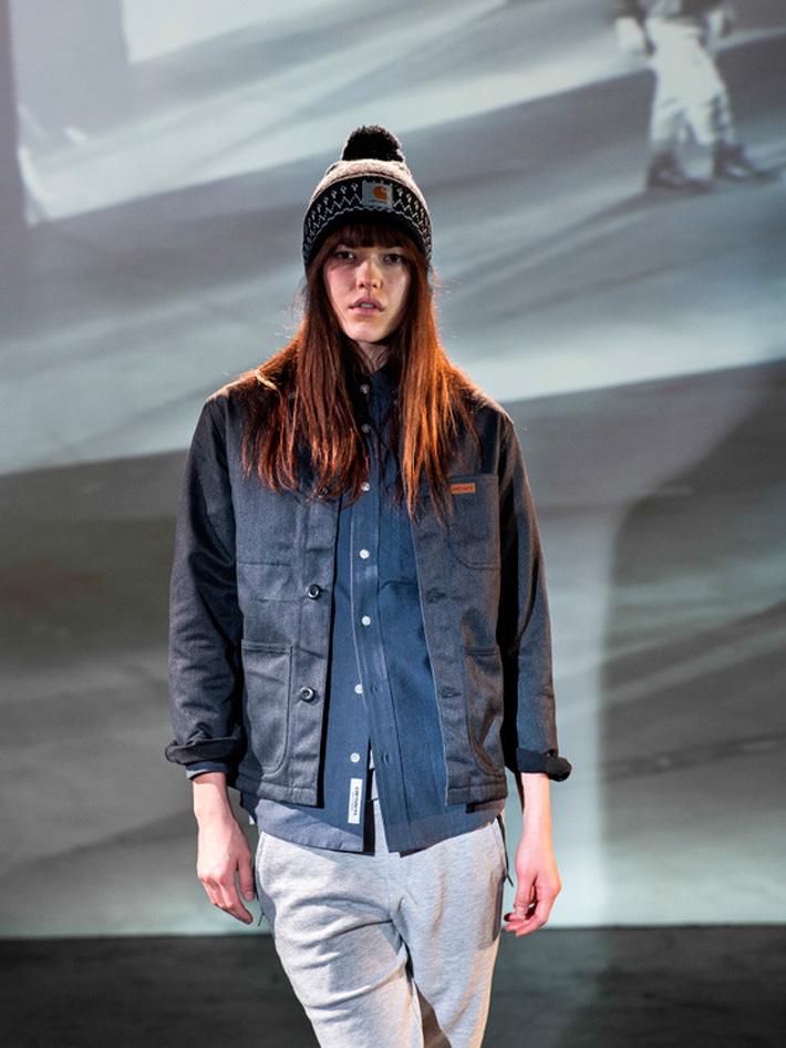 Carhart WIP, podzimní dámská jeansová bunda modrá, modrá košile