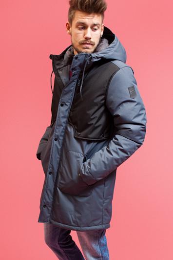 RVLT/Revolution, pánská dlouhá zimní bunda modro černá