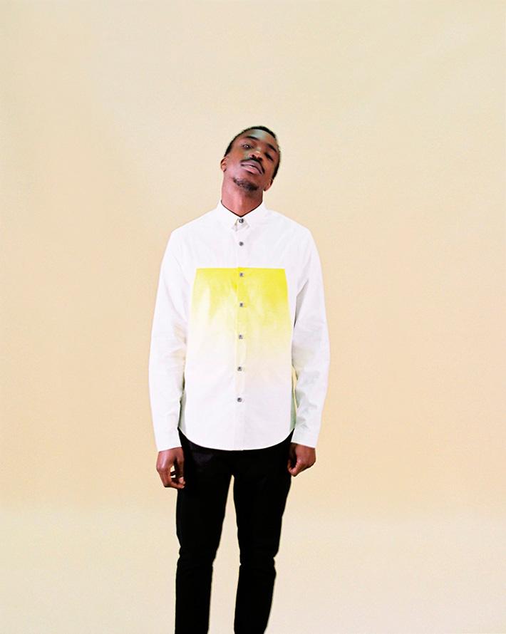 Asos Black X Puma bílá pánská košile se žlutým obdélníkem