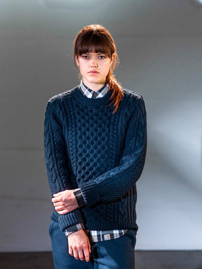 Carhart WIP, dámský modrý pletený svetr, dámské modré tepláky
