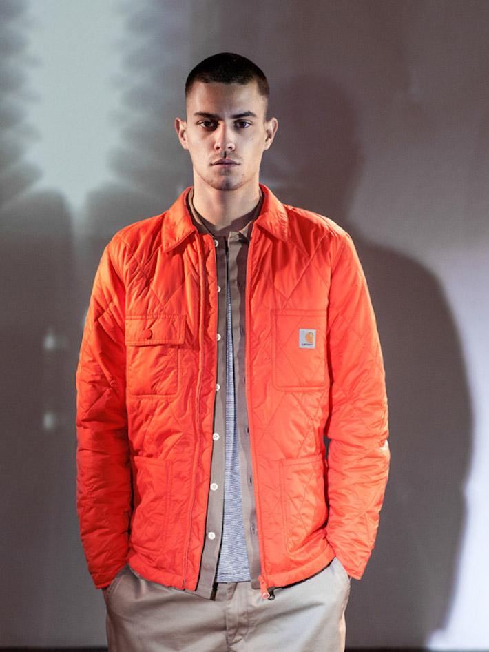 Carhart WIP oranžová prošívaná podzimní zimní bunda pánská