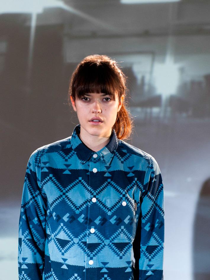 Carhart WIP, dámská modrá košile se vzorem