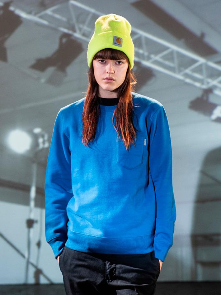 Carhart WIP, dámská modrá mikina skapsičkou, žlutá čepice