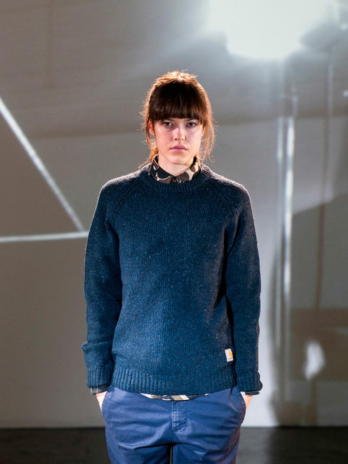 Carhart WIP, dámský pletený svetr modrý, modré kalhoty dámské