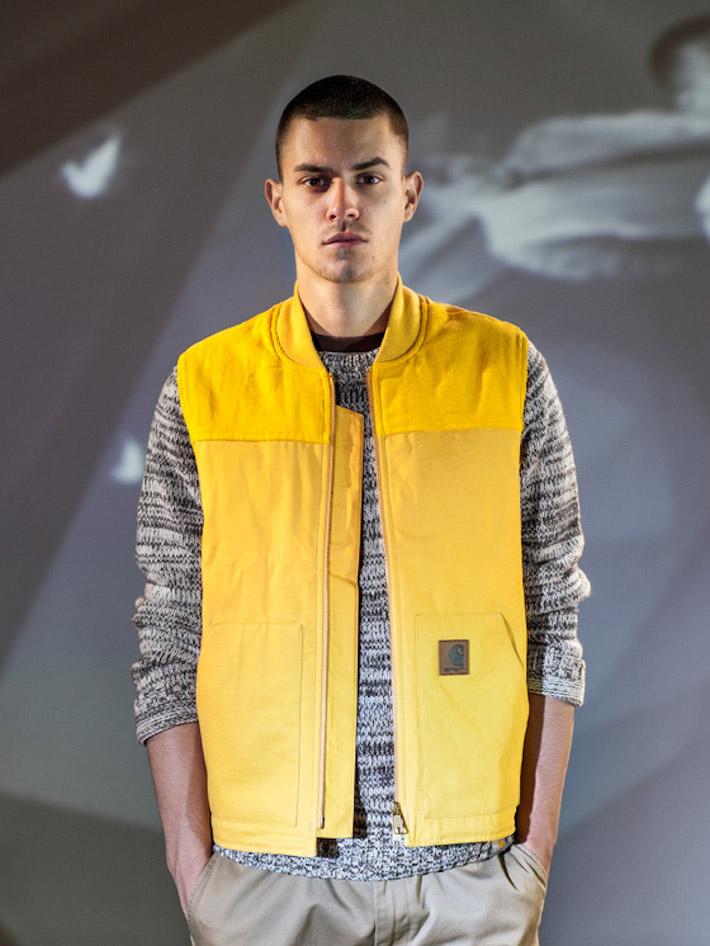 Carhart WIP žlutá pánská vesta, pletený svetr