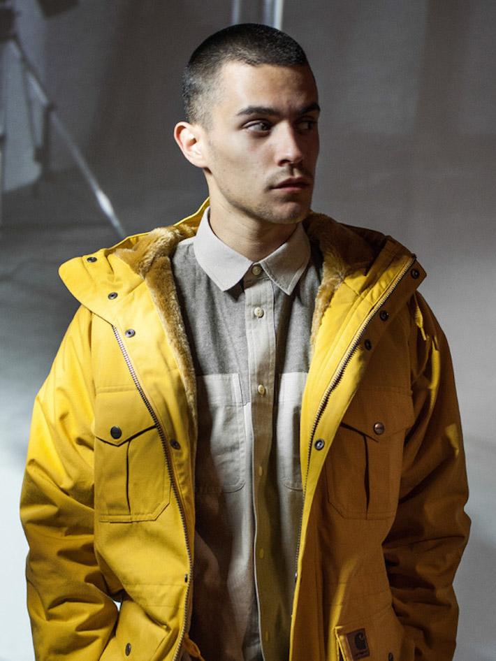 Carhart WIP žlutá pánská zimní bunda skožešinou