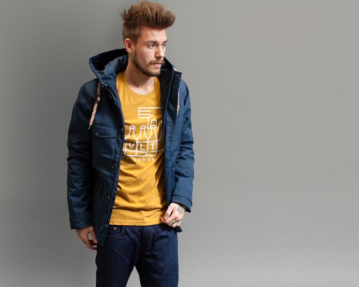 RVLT/Revolution, pánská modrá podzimní/zimní bunda, žluté tričko