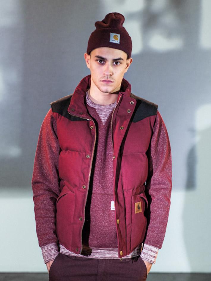 Carhart WIP pánský bordó svetr, bordó zimní vesta