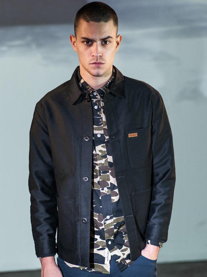 Carhart WIP pánská černá podzimní bunda, maskáčová košile