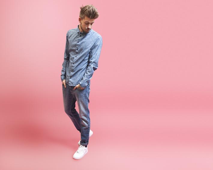 RVLT/Revolution, pánská košile se vzorem, modré jeany