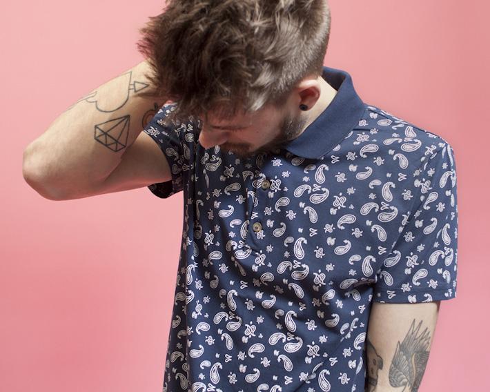 RVLT/Revolution, pánská košile se vzorem, krátký rukáv
