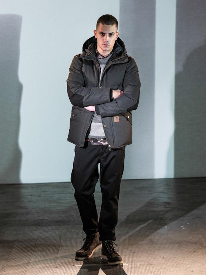 Carhart WIP pánská šedá zimní bunda, černé kalhoty