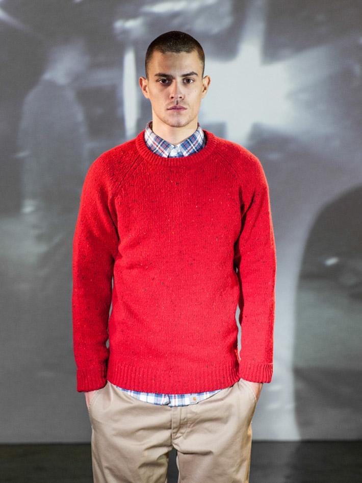 Carhart WIP pánský teplý červeno oranžový pletený svetr